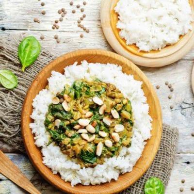 Indisches Spinat Linsen Curry